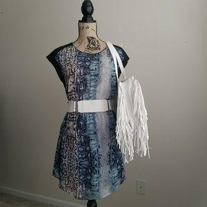 Necessary Objects Sheer Snakeskin Print Dress SZ S